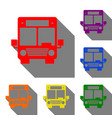 bus sign set of red orange yellow vector image vector image