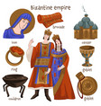 byzantine empire christian people and furniture vector image vector image