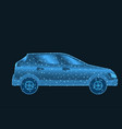 car low poly wireframe with glowing dots and lines vector image vector image
