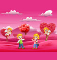 cartoon of boys holding lots of balloons for girls vector image vector image