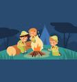 children night campfire young adventurers around vector image