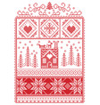 christmas pattern with gingerbread house reindeer vector image vector image