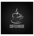 coffee cup logo design on black background vector image vector image