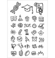 doodle school and college icons vector image vector image