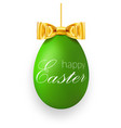 easter egg 3d icon green hanging egg white text vector image vector image