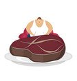 fat guy is sitting on chair and steak glutton vector image