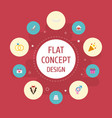 flat icons patisserie card present and other vector image vector image