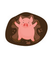 funny and cute cartoon pig making a snow angel in vector image
