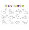 funny cartoon dinosaurs collection coloring book vector image