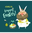 Funny Man in Easter Bunny Costume vector image