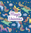 hand drawn magic unicorns and stars vector image vector image