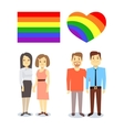 happy gay LGBT pairs with rainbow flag and vector image vector image