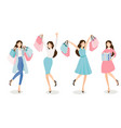 happy young women shopping in blue and pink tone vector image