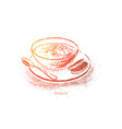homemade borscht with sour cream traditional vector image
