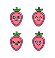 kawaii strawberry diferents faces icon vector image vector image