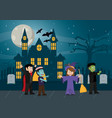 kids in halloween cartoon vector image vector image