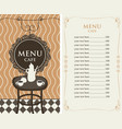 Menu for the cafe with price list and served table