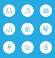 multimedia icons line style set with headphone vector image