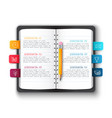 notebook with pencil and bookmarks vector image