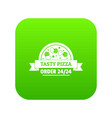 pizza order icon green vector image vector image