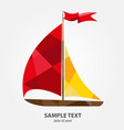 sailboat with yellow and red sails in the vector image vector image