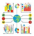 Set diagrams elements business planet vector image