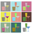 set icons in flat design cocktail glasses vector image vector image