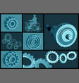 set of abstract gears vector image