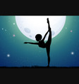 silhouette woman doing yoga at night vector image vector image