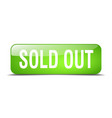 sold out green square 3d realistic isolated web vector image vector image