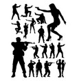 special agent and soldier detail silhouette vector image
