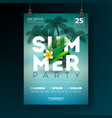 summer party flyer design with flower and vector image vector image