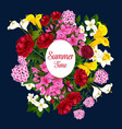 summer time flowers best wishes poster vector image vector image