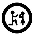 the man makes an offer woman stick icon in round vector image