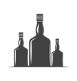 Three bottles for whiskey with screw cap Black vector image