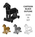 trojan horse icon in cartoon style isolated on vector image vector image
