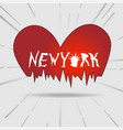typography slogan new york heart vintage vector image