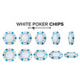white poker chips 3d set plastic round vector image vector image