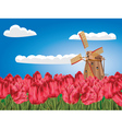 Windmill and Tulips4 vector image vector image