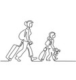 woman and girl traveling with suitcases vector image