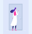 woman at house door female entering building vector image vector image