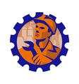 worker hardhat spanner cog vector image vector image
