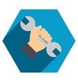 Repair Service Flat Hexagon Icon with Long Shadow vector image