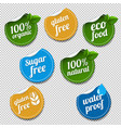 100 organic product labels set transparent vector image vector image