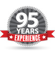 95 years experience retro label with red ribbon vector image vector image