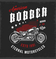 american bobber motorcycle vintage label vector image vector image
