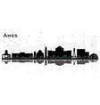 ames iowa skyline black and white silhouette with vector image vector image
