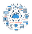 blue round cloud storage concept vector image vector image