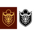 buffalo head sihouettes on shield emblem vector image vector image