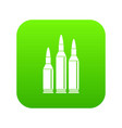 bullet ammunition icon digital green vector image